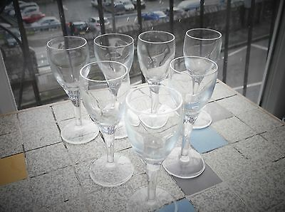 7 Lovely Old Elegant Wine / Liqueur / Sherry Small Bowl Solid Stem Glasses