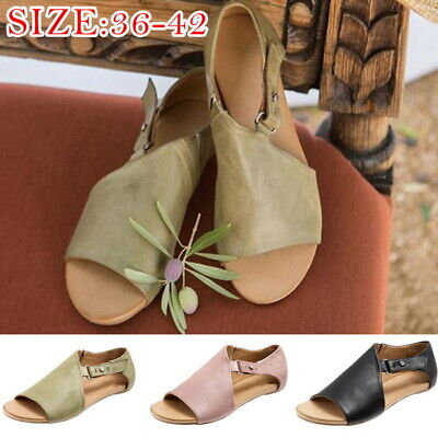 Womens Ladies Gladiator Casual Sandals Open Toes Summer Beach Flats Shoes