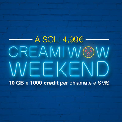 Sim Poste Mobile, Con  Promo Weekend Creami Wow Crediti Illimitati 10 Giga 4,99€