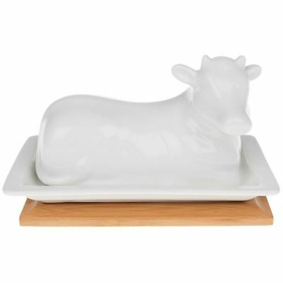 White Bamboo Cow Butter Dish