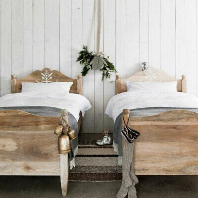 Solid Wood Gustavian Sleigh Bed - Single Bed - Available Painted Or In Raw Wood