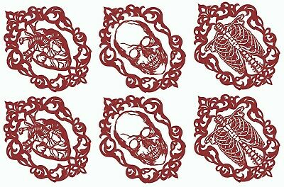 """Gothic Heart Skull Ribs 5""""X7"""" Card 6 pcs 2-3/4"""" X 2"""" Red Fused Glass Decals 1114"""
