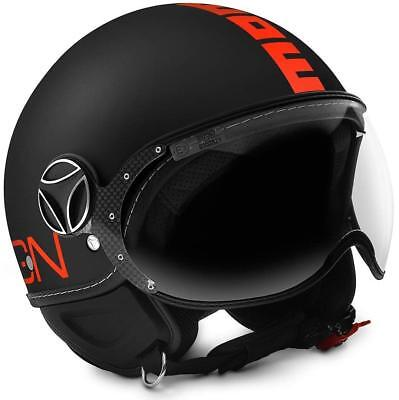 Casco Momo Design Classic Black Matt - Orange Fluo Taglia Xs