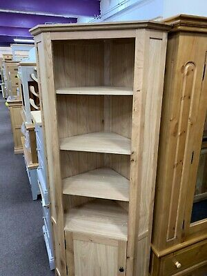 Hereford Rustic Tall Oak Corner Display Cabinet