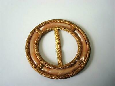 Vintage Art Deco Brass Tone and Pearlized Beige Celluloid Slide Buckle Germany