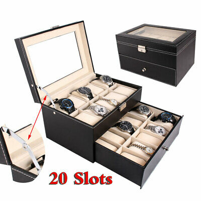 Nice Lubinski Wood Two Drawer 10 Wrist Watch Storage Case Chest Boxes, Cases & Watch Winders