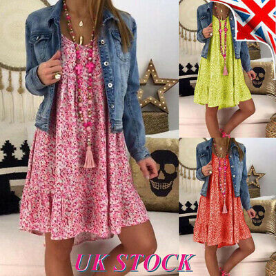 Plus Size Womens Floral Summer Dress Ladies Loose Beach Holiday Swing Dress UK
