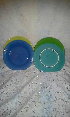 "4 DINNER PLATES set lot turquoise shamrock lapis + FIESTA WARE 10.5"" NEW"