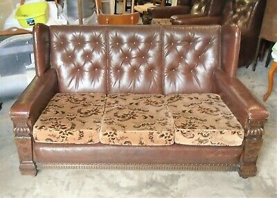 Art Deco Leather Wing Back 3 Seater Sofa / Settee    Delivery Available