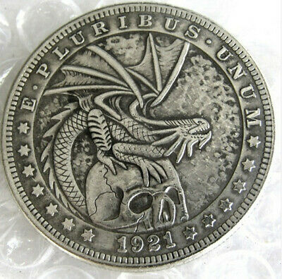 Hobo Nickel 1921 Dollar Skull with Dragon Perched On Top Casted Coin