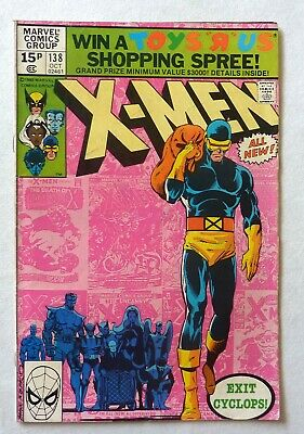 Uncanny X-Men 138 Bronze Age 1980 Marvel Comics FN+/VFN- Cyclops Leaves