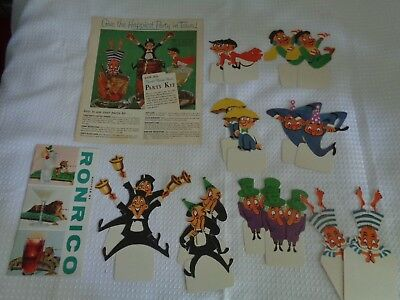 RONRICO RUM party kit 1958 drink Rumster cut outs UNIQUE bar cards Puerto Rico