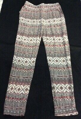 CASUAL TROUSERS 9-10 yrs Aztec Grey Ecru Stretchy Ex Condition