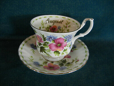 Royal Albert Flower of the Month August Poppy Cup and Saucer Set - England