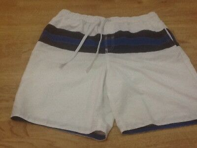 Men's Size Large White Swimming Shorts With Blue Stripe