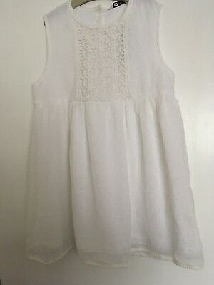 Girls Pretty White Top 11-12 Years George Bnwt Present Party (Postage Deal)
