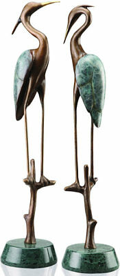 Wetlands Modern Crane Heron Pair Bronze Art Sculpture Statue by SPI Home 80154