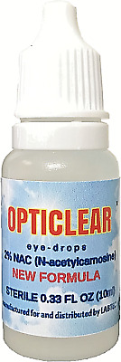 Opticlear  Eye Drops with 2% NAC (N-Acetylcarnosine) 10ml  Vial free shipping!