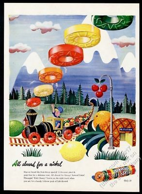 1945 Life Savers train of candy art vintage print ad