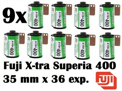 9 Rolls Fujifilm Fujicolor Superia X-TRA 400 Color Negative Film 35 mm CH135/36