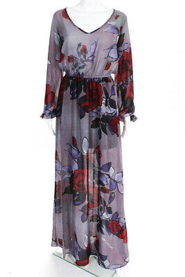 dccc8663e0 Show Me Your Mumu Womens Floral Print V Neck Maxi Dress Purple Red Size  Small
