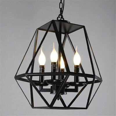 Industrial Retro Wrought Iron Pendant Light Ceiling Chandelier Lamp with Cage
