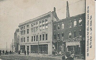 Early 1900's Odd Fellows & Post Office Buildings Burning in Chelsea, MA PC