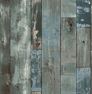 Rasch Wallpaper New Age 319957 Textil Wood Wall Colourful Wooden Boards Look