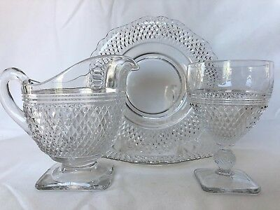 Cambridge MT VERNON Footed PITCHER / Cocktail Glass / Bread Plates FLAWLESS 4pcs