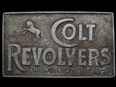 JF23128 VINTAGE 1970s **COLT REVOLVERS THE WORLDS RIGHT ARM** PEWTER BELT BUCKLE