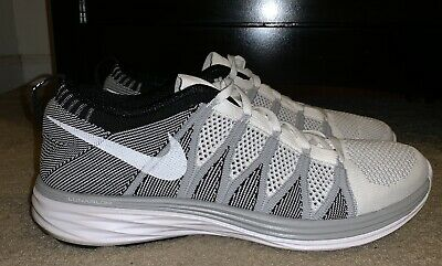 separation shoes f3657 64f38 Nike Flyknit Lunar 2 Mens Shoes Size 11.5 White Grey Black