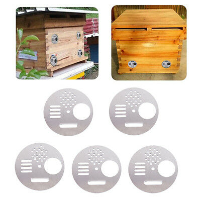 5pcs Stainless Steel Round Bee Hive Box Nest Door Beekeeping Entrance Gate YO
