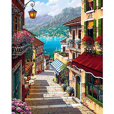 Mediterranean Town Canvas Paint By Number Kit Digital Oil Painting Decor