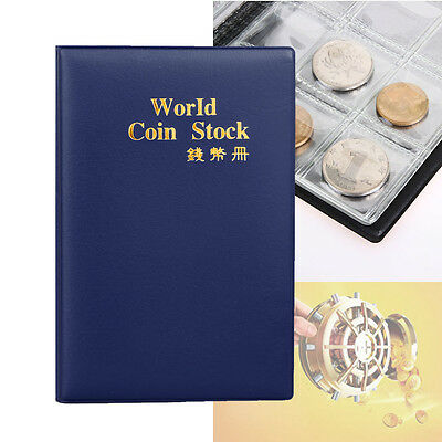 120 Slots Coin Penny Collecting Holder Pockets Storage Folder Album Book Blue ☪R