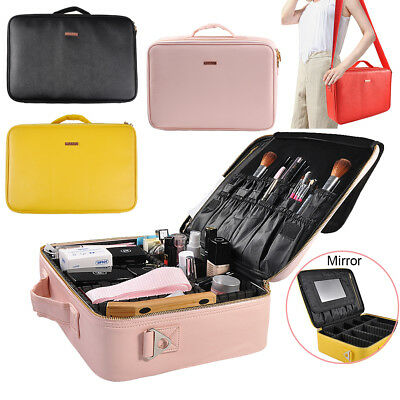 AU Portable Cosmetic Case Makeup Bag Pouch Travel Large Capacity Storage Yellow