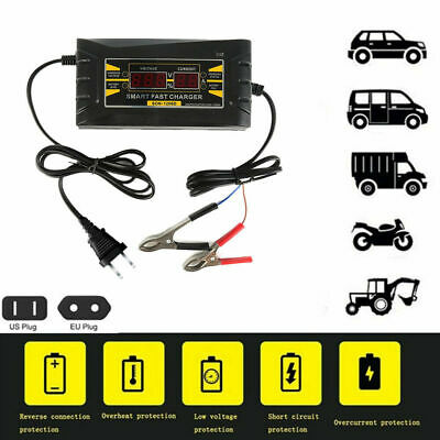 Smart Fast Lead Acid Battery Charger 12V 6A for Car Motorcycle LCD Display US/EU
