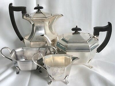 EPNS A1 SHEFFIELD ENGLISH Silver Tea Set EDWARDIAN DECO Ebony Trim Teapot COFFEE