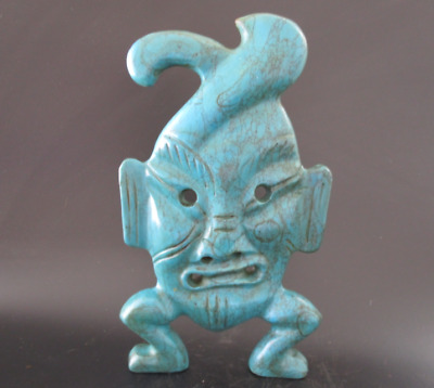 China Hongshan Culture Old Turquoise Jade hand-carved sun god mask Statue 865g