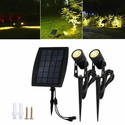NEW Waterproof Solar LED Spot Lights Garden Outdoor Lawn Yard Lamps Warm White