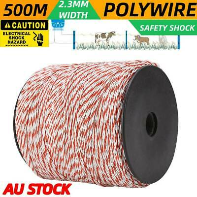 500M Roll Electric Fence Fencing Polywire Kit Stainless Steel Poly Wire Rope