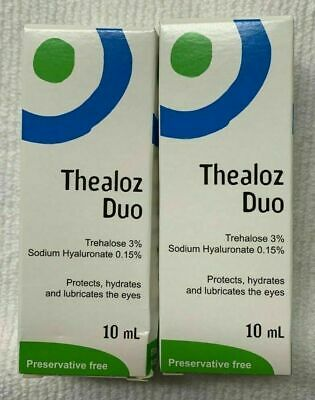 2x Thealoz Duo Protects, Hydrates & Lubricates The Eyes 10ml