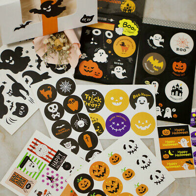 Hot Halloween Sticky Sticker Labels F. Party Cello Candy Bags Gift Boxes Seals
