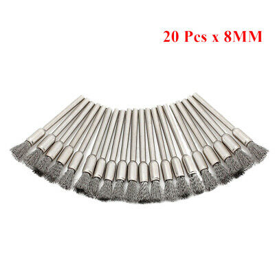 20Pcs 8MM Steel Wire Pen Brushes Set Kit for Rotary Tool Dremel Die Grinder UK