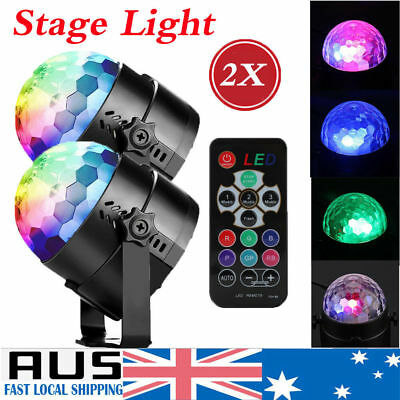 2Pack 7 Color Effect Disco Party DJ LED RGB Stage Light Crystal Magic Ball Lamp