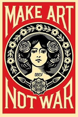Shepard Fairey (Obey) ♦ Make Art Not War ♦ Serigraphie Signee Obey Giant
