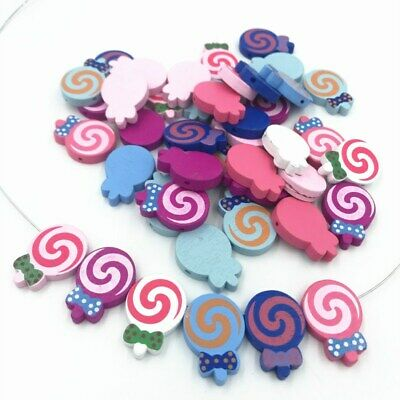 Wood Lollipop Loose Beads candy beads Pacifier Clip Accessorie Spacer Besds 28mm