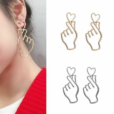 Hollowed Love's Hand Heart Gestures Drop Dangle Tassel Earrings  Jewelry