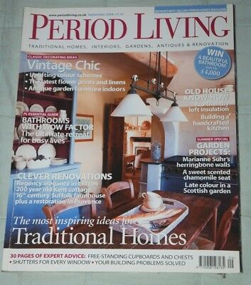 Vintage PERIOD LIVING Magazine September 2008 Traditional Homes Antiques Gardens