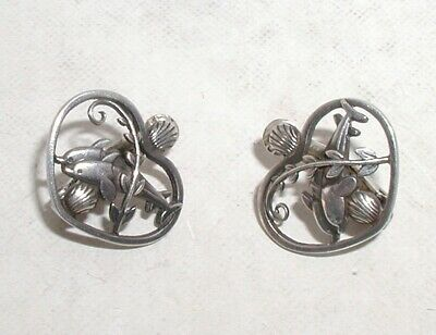 """Rare Georg Jensen Sterling Silver Dolphin Heart Shaped Ear Clips""Denmark No.101"