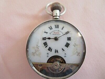 Genuine Hebdomas 8 Day Solid Silver Swiss Pocket Watch C1919 Fully Working